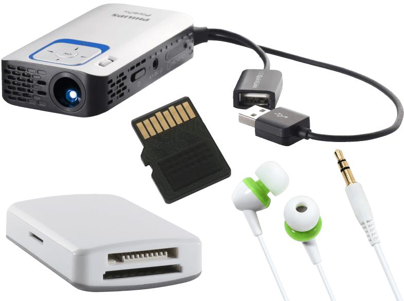 Saturn: Philips PicoPix 2340 Taschenprojektor inkl. 4GB C4 Micro SD Karte, Kartenlesegerät und Kopfhörer für 111€