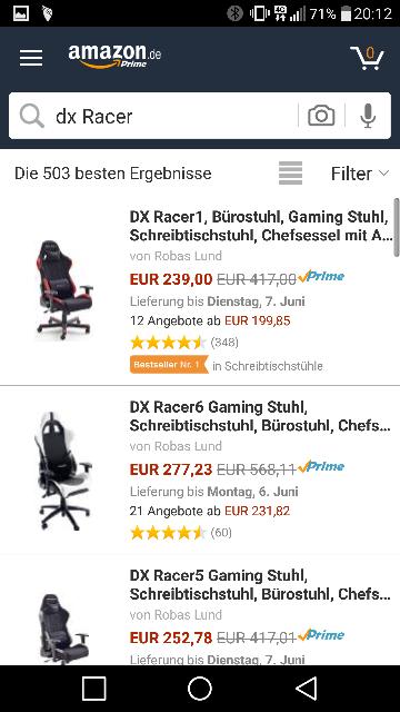 Diverse DX Racer Stühle reduziert