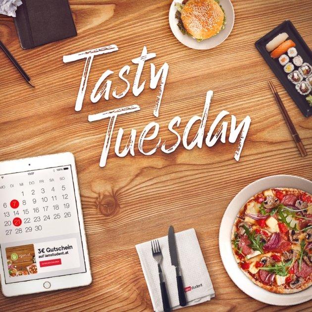 Mjam Tasty Tuesday - 3€ Rabatt auf eine Bestellung - nur zwischen 16 - 20 Uhr für Studenten