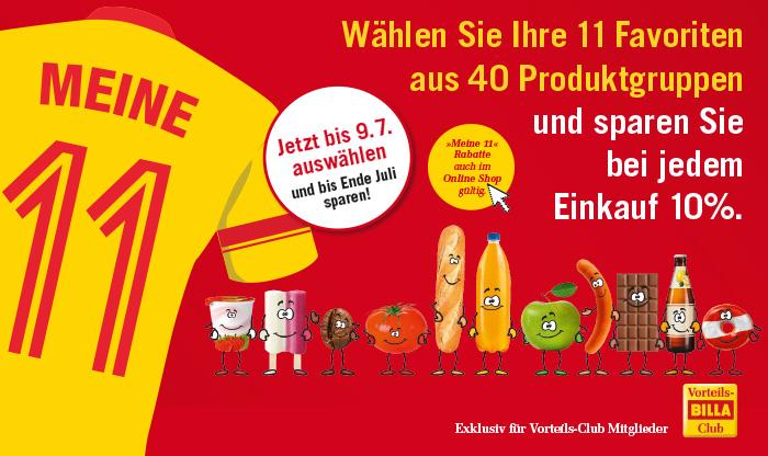 11 Produktgruppen bei Billa.at wählen und bei jedem Einkauf 10 % sparen.