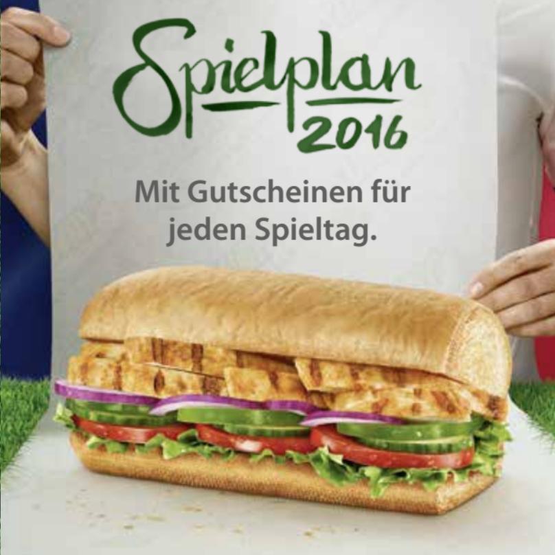 Subway-Gutscheine zur Fußball-EM (u.a. 1+1 gratis)
