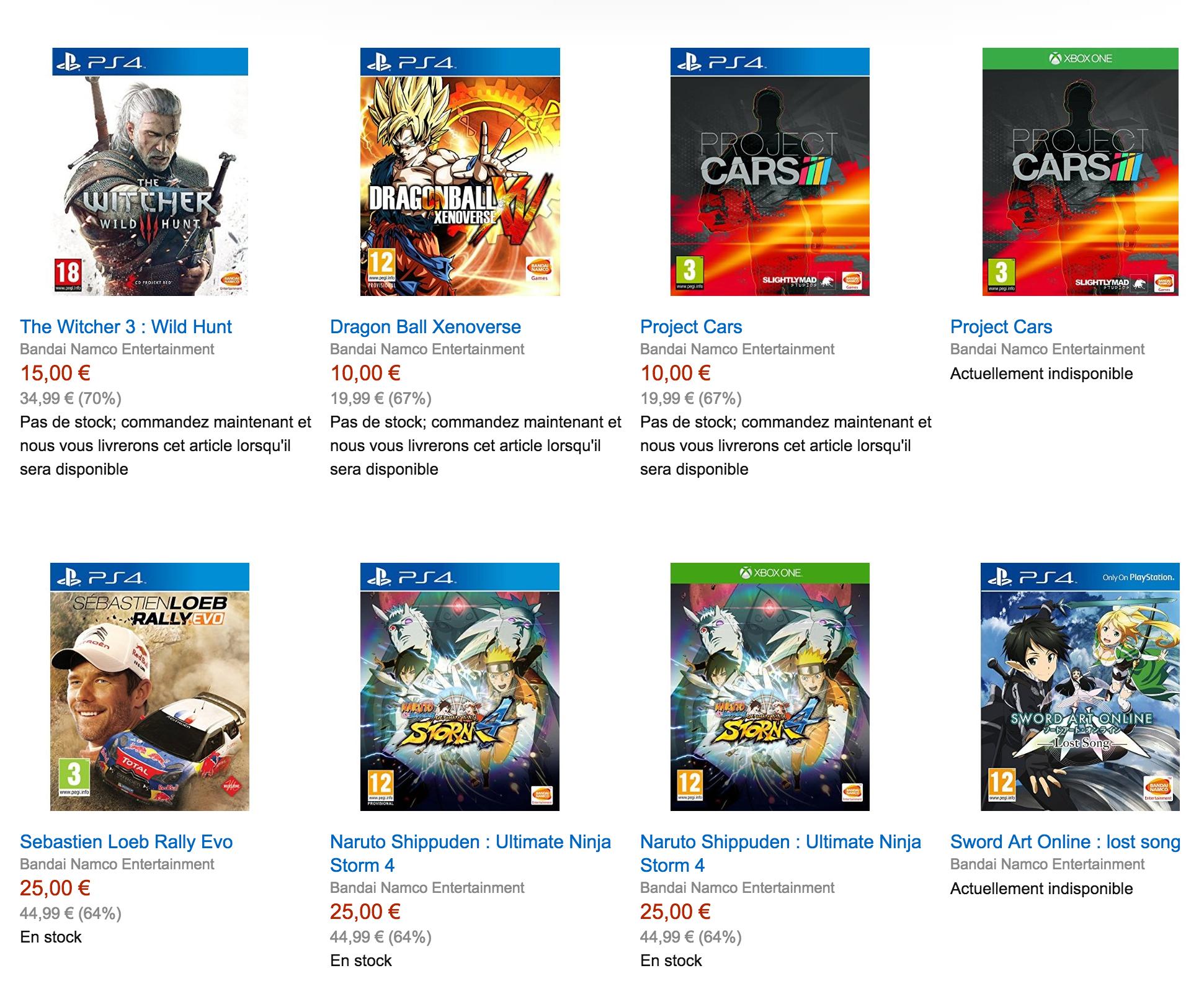 [Amazon.fr] Namco Sale - Witcher 3 (PS4/XB1) für 18,85€, Project Cars für 13,85€, Naruto für 28,85€