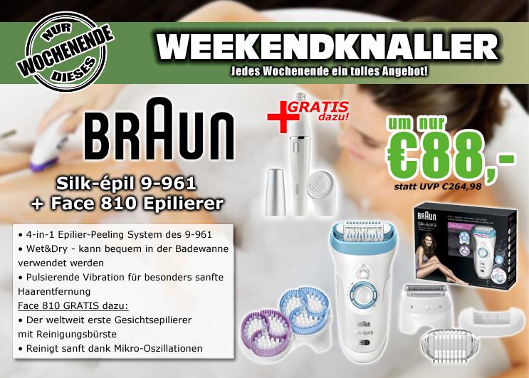 0815.at: Braun Silk-épil 9 (9-961e) Wet & Dry Epilierer + 810 Silk-epil Face Gesichtsepilierer für 88€