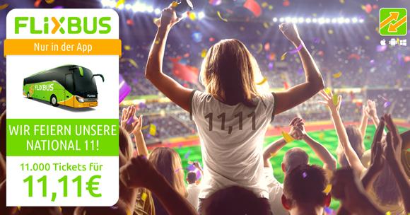 FlixBus: 11.000 Tickets für nur 11,11€ für alle Verbindungen! - nur heute gültig