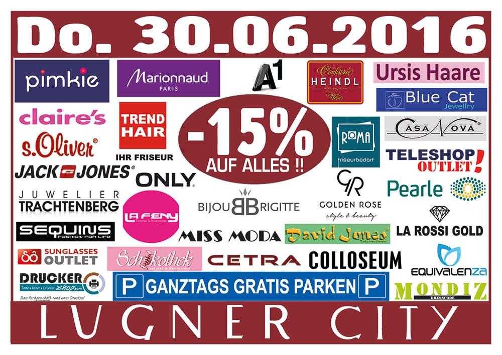 Lugner City - 15% auf Alles / ganztags gratis Parken / nur am 30.6.2016