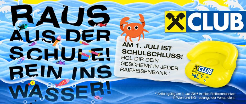Raiffeisen: Gratis Strandsessel für alle Schüler in Wien & NÖ - nur am 1.7.2016