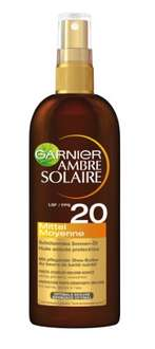 [Amazon Prime] Wieder da: Garnier Ambre Solaire Sonnen-Öl Spray LSF 20, 3er Pack (3 x 150 ml) für 14,85€