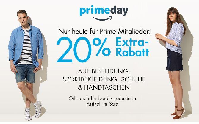 Prime Day: Nur heute -20% Auf Bekleidung , Sportbekleidung, Schuhe & Handtaschen für alle  Prime-Mitglieder (gilt auch für bereits reduzierte Ware)