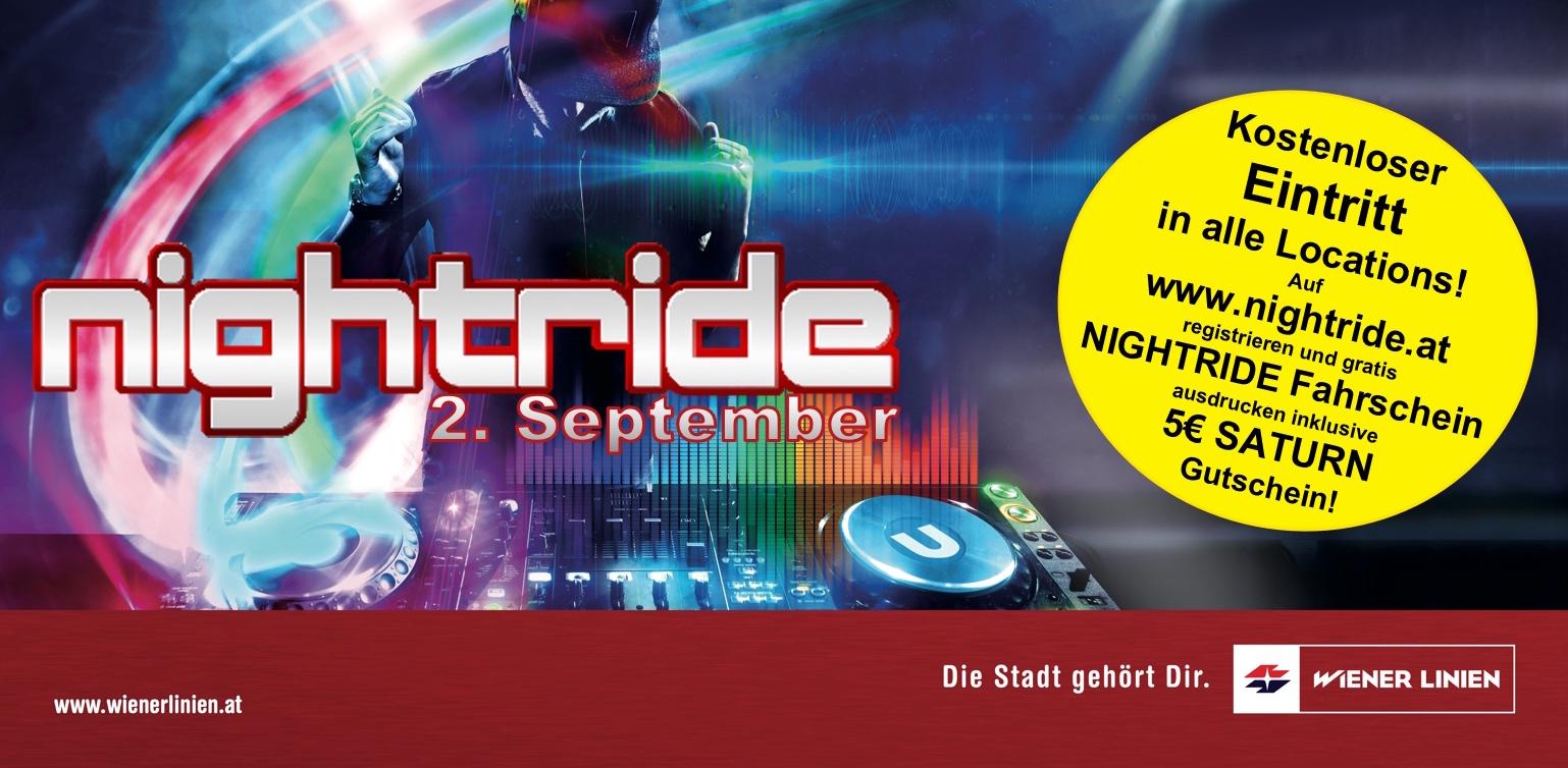 NIGHTRIDE in Wien - Kostenloser Eintritt in 50 Clubs + Wiener Linien Fahrschein + 5€Saturn Gutschein