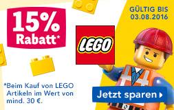 ToysRus: 15% Rabatt auf alle LEGO Artikel - nur bis zum 3. August