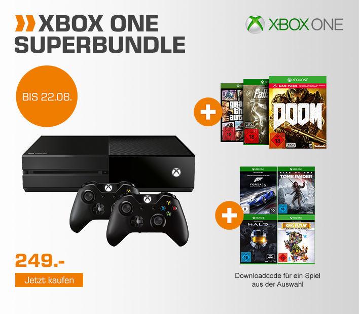 [Saturn Deutschland] Xbox One 500GB + 2. Controller + Doom, GTA 5 und Fallout 4 + 1 von 4 (Halo MCC, Tomb Raider, Rare Replay oder Forza 6) für 255,95 inc. Versand