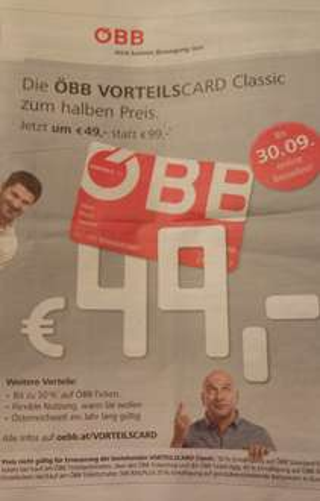ÖBB Vorteilscard (Classic) um 49 Euro statt 99
