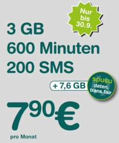 Spusu Supertarif - 3GB Internet + 600 Minuten + 200 SMS + Datentransfer