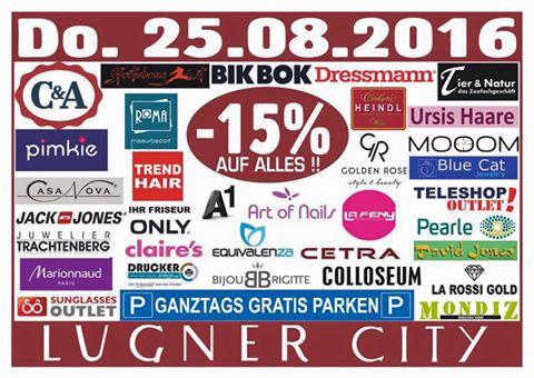 Lugner City: 15% Rabatt in vielen Shops + ganztags gratis Parken - nur heute!