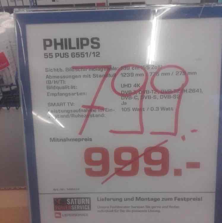 Phillips 55 PUS 6551 UHD Led TV um 799€ NUR CITYPARK GRAZ
