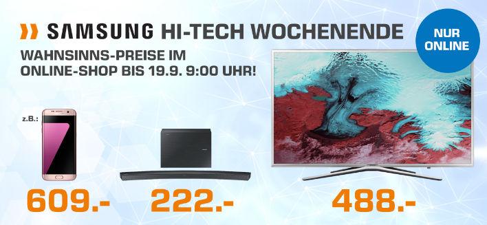 Samsung Hi-Tech Wochenende im SATURN Online-Shop Beispiel UE65JU6070 um 999,- inkl. Versand statt 1457,99
