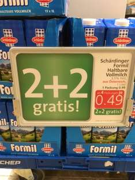 "Spar: Schärdinger ""Formil"" Haltbar-Vollmilch um 0,49 € (50% / 2+2 Gratis)"