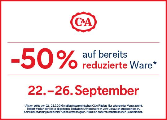 C&A: 50% Rabatt auf bereits reduzierte Artikel - nur bis zum 26. September
