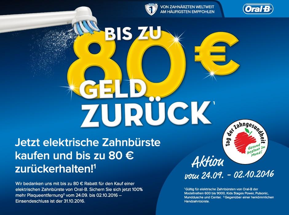 Bis zu 80€Cashback auf Oral-B Zahnbürsten - u.a. mit  Genius 9000 für 78,75€