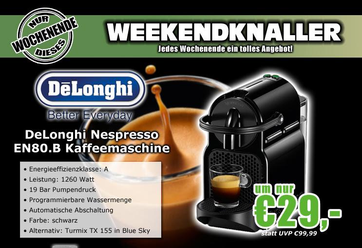 0815.at: DeLonghi EN80.B Inissia oder Turmix TX 155 Nespressomaschine für 33,99€