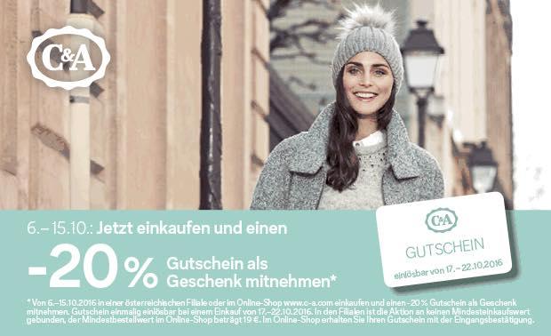 C&A: Bis zum 15. Oktober einkaufen und 20% Rabatt Gutschein geschenkt bekommen
