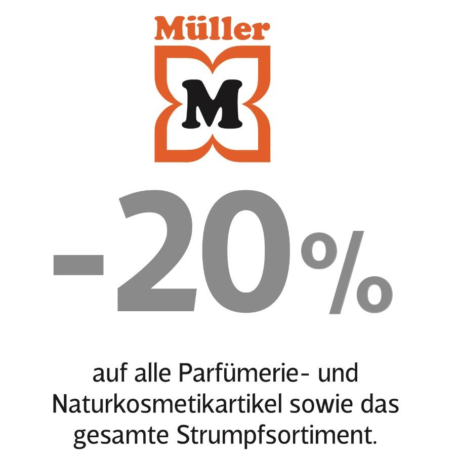 Müller: 20% auf Parfümerie und Naturkosmetik - bis 8.10.2016