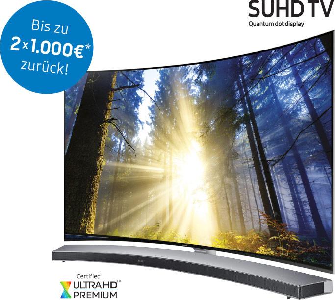 Samsung Cash Back Aktion auf SUHD TV Geräte - bis zu 1000€ retour