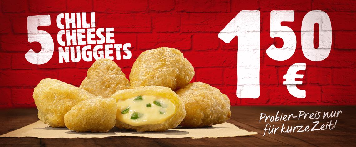 Burger King: 5er Chili Cheese Nuggets um 1,50 € (+5% Cashback)