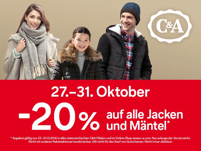 C&A: 20% Rabatt auf alle Jacken und Mäntel - nur vom 27. - 31. Oktober