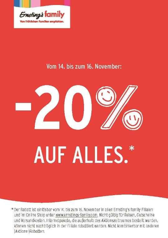 Ernsting's family: 20% Rabatt auf reguläre Ware - nur vom 14. bis zum 16. November