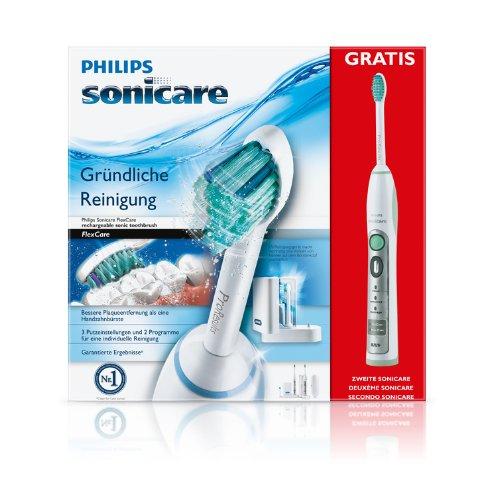 Philips Sonicare HX6932/34 FlexCare Elektrische Zahnbürste mit Schalltechnologie, weiß/grün, Doppelpack 99,99€