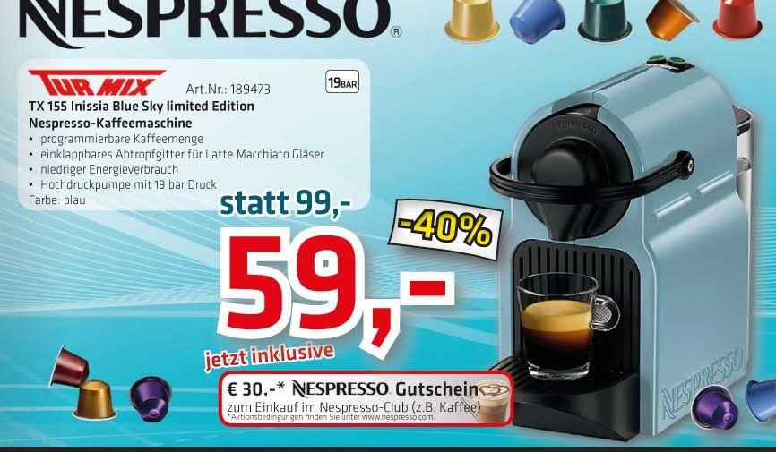 Nespresso Maschine Turmix TX 155 blue um €59,00 inkl €30,- Nespresso Gutschein!