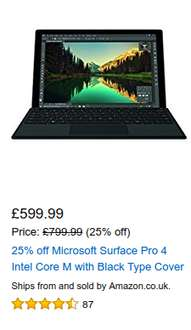 Surface Pro 4 Core m3 128GB + Type Cover Amazon UK Versand nach AT Ersparnis ca. 151€
