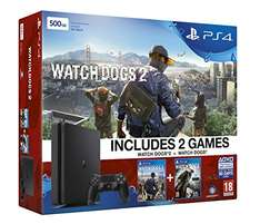 PS4 Slim (500 GB) + Watch Dogs 2 + Watch Dogs 1 um 242 € - 25% sparen