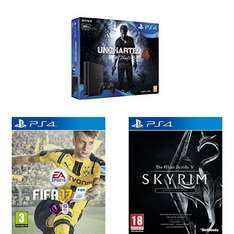 [Amazon.co.uk] PS4 Slim 500GB + Uncharted 4 + Fifa17 + Elder Scrolls V: Skyrim Special Edition für 265,75€ - 25% sparen