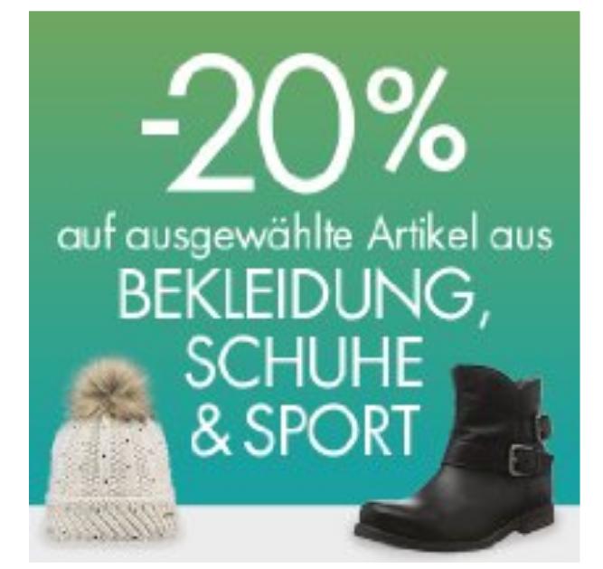 20% Sofort-Rabatt auf Bekleidung, Schuhe und Sport
