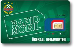 """""""SK Rapid Mobil"""": 1000 Min/SMS, 3000 MB Daten um 9,90 € + Gratis Wunschnummer + Rapid-Fan-Vorteile"""