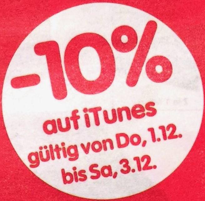 InterSpar: 10% Rabatt auf alle iTunes Karten - 1.12.-3.12.2016