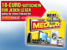 10€ Medimax Gutschein in jeder Computerbild - Wertkarten und Gutscheine mit bis zu 50% Rabatt