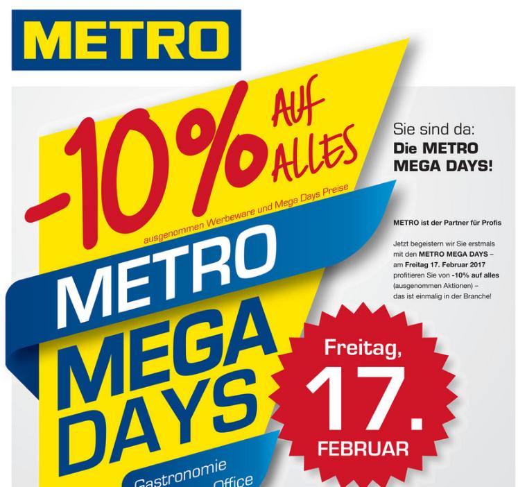 Metro: -10% auf Alles (ausgenommen Aktionen) - am 17.2.2017