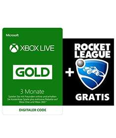Amazon.de: Xbox Live Gold 3 Monate + Rocket League für 19,99€, Update: 16,97€