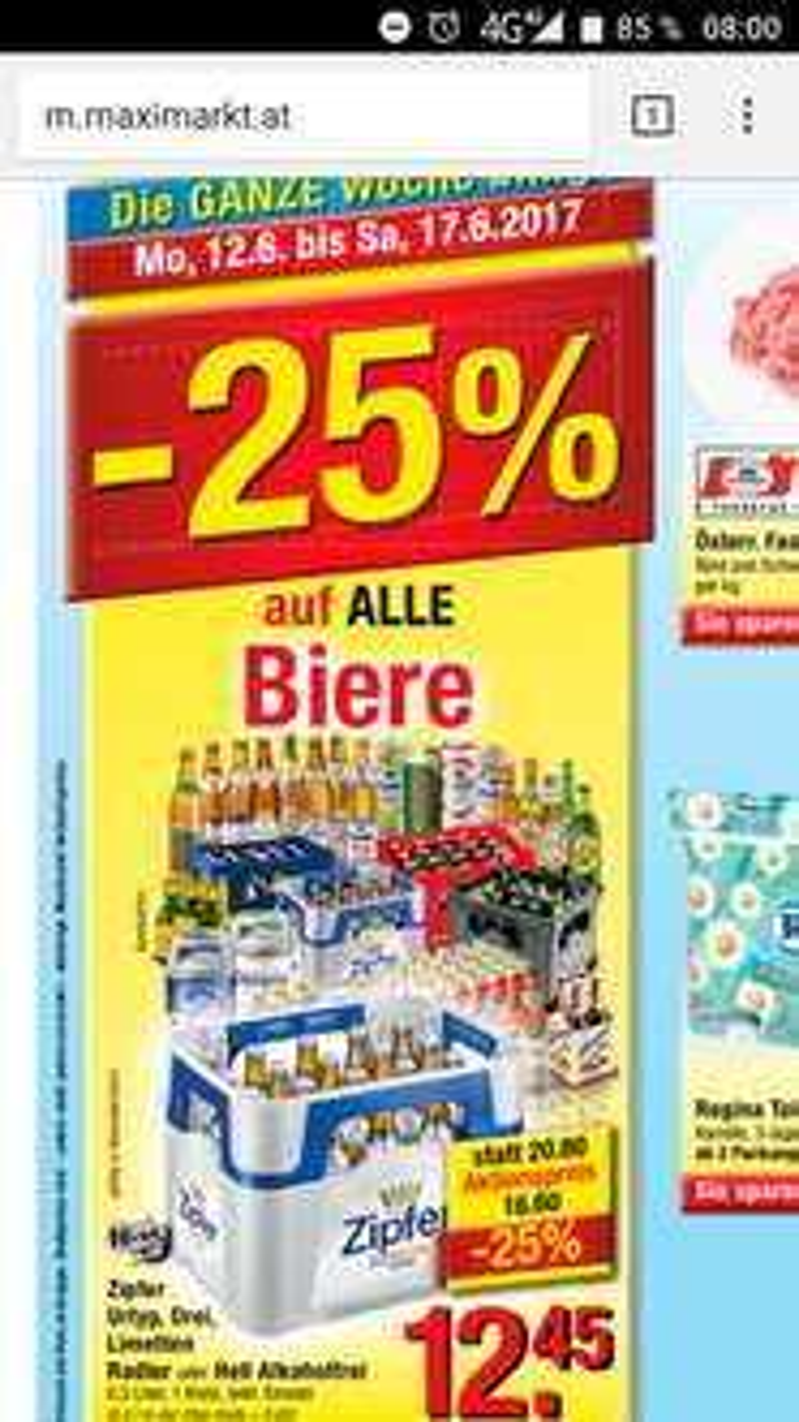 Maximarkt -25% auf alle Biere