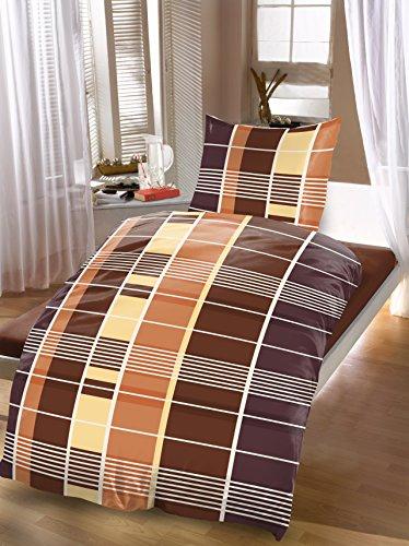 4 tlg Bettwäsche Karo 135 x 200 cm braun aus Microfaser 2 Garniture