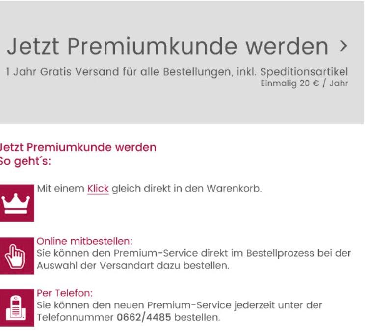 Premiumkunde Universal - neues Angebot versandkostenfrei 1 Jahr inkl Speditionsartikel