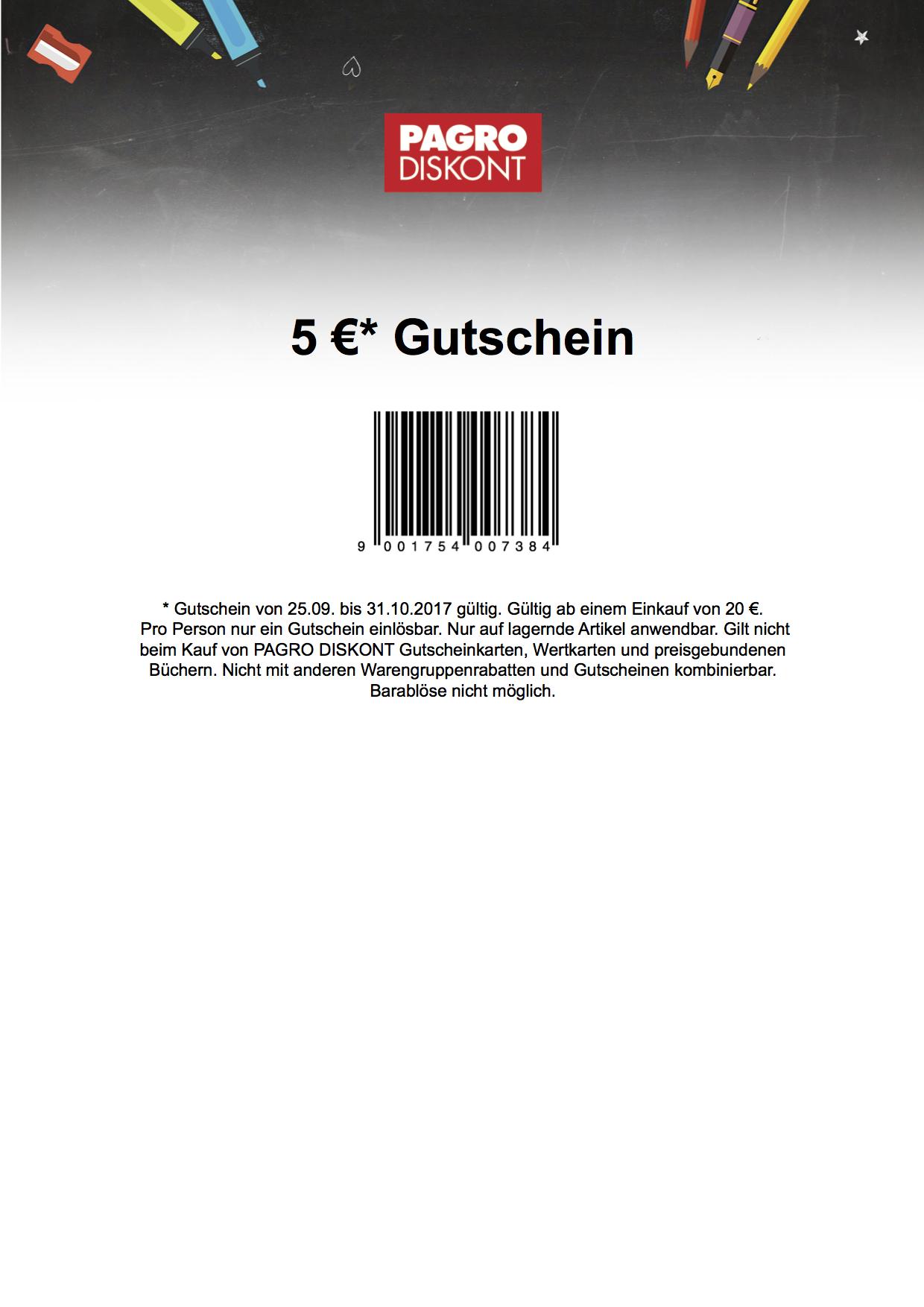 5 € Pagro Gutschein MBW 20 € online  und offline