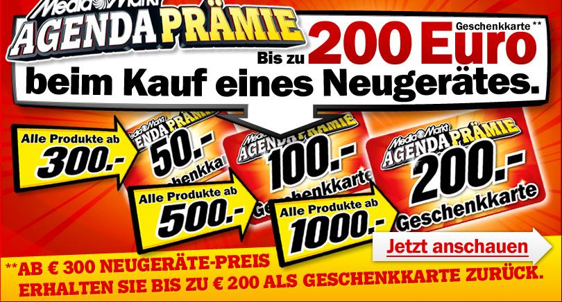 Media Markt Agenda Prämie - Bis zu 200€ Geschenkkarte beim Kauf eines Neugerätes