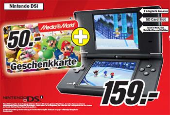 Nintendo DSi + 50€ Media Markt Gutschein für 159€
