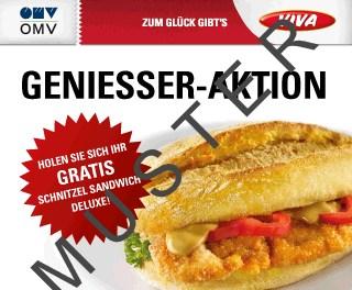 Gratis Schnitzel-Sandwich in jeder OMV Tankstelle mit VIVA