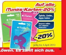 20% auf iTunes Karten @Hartlauer Österreich