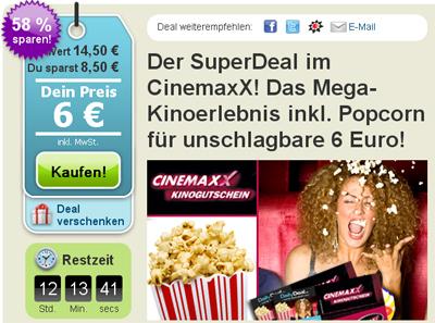 Cinemaxx Kinogutschein inkl. Popcorn für 6€